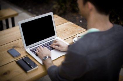 laptop on desk for blogging