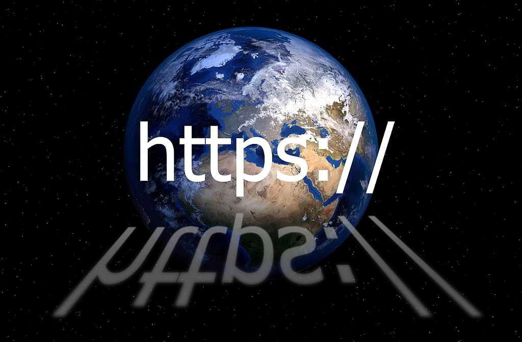 https address bar with world globe in background