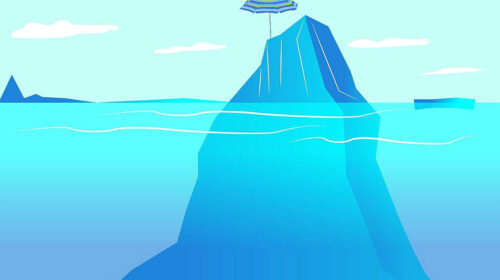 iceberg with a beach umbrella on top